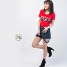 T恤 短袖 亮片 文字亮片短袖T恤/紅色...