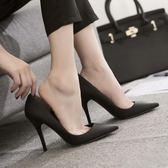 盈致春季新款尖頭黑色高跟鞋女細跟職業正裝百搭ol蛇紋單鞋夏