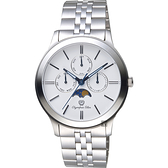 Olympia Star奧林比亞 日曆月相錶-白x銀/40mm 58088-06MS白面