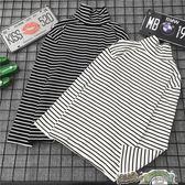 長袖高領秋裝(兩件裝)春季新款長袖打底衫女裝韓版寬松T恤百搭半高領黑白條紋上衣 都市時尚