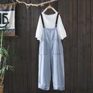 輕薄天絲牛仔背帶褲韓版直筒連身褲子-設計家K3347