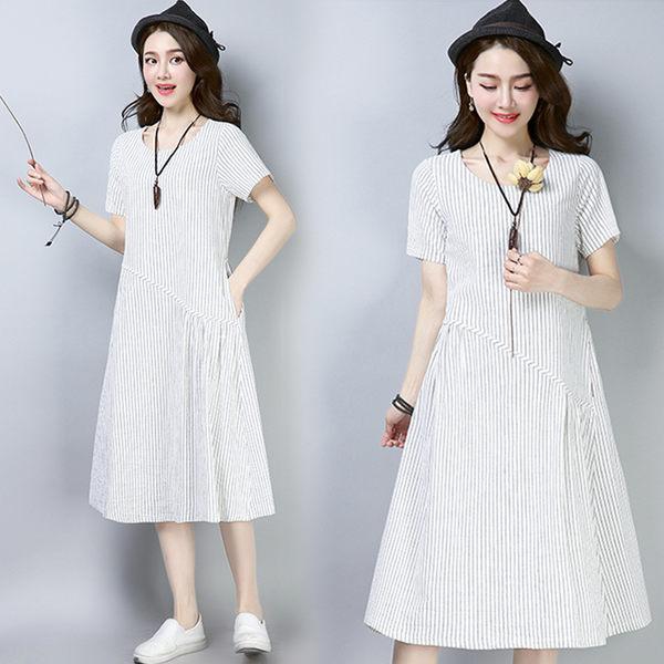 【名模衣櫃】復古-棉麻條紋連衣裙-白色-91767-(M-2XL可選)