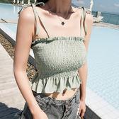 梨卡 - 波西米亞度假沙灘短版露肩細肩帶綁帶無袖小可愛背心上衣C6250
