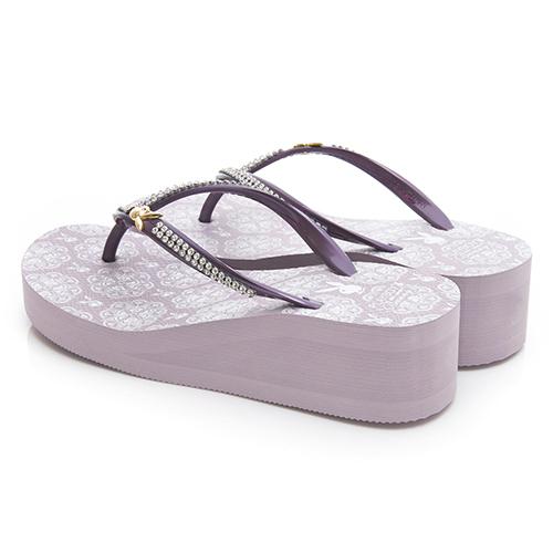 PLAYBOY 唯美設計水鑽厚底人字拖-紫