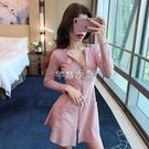 洋裝2021新款韓版時尚網紅氣質修身顯瘦開衫高腰印花短裙子女 快速出貨