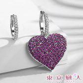 耳環 不對稱鋯石桃紅色心型耳釦式耳環★東京戀人MS.Q★1618031
