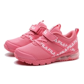 FILA 休閒鞋 粉 花紋 黏帶 氣墊鞋 童鞋 大童 中童 (布魯克林) 2J822U511