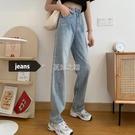 夏季新款韓版復古高腰寬鬆牛仔褲女直筒百搭顯瘦闊腿褲長褲潮 快速出貨