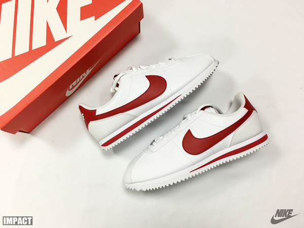 IMPACT Nike Cortez Basic SL GS 阿甘 白 紅 鐵牌 女鞋 慢跑 百搭 904764-101