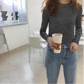 現貨杏 彈性親膚柔軟 條紋修身上衣 CC KOREA ~ Q22046