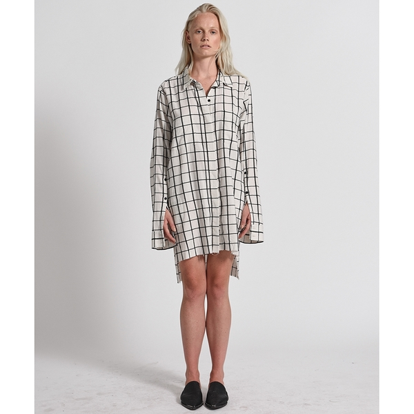 OneTeaspoon 長版襯衫 QUATRO CHECK SHIRT DRESS-白(女)