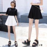a字裙寬褲裙chic黑色百褶短裙