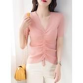 夏裝冰絲針織抽繩系帶修身上衣薄V領打底衫短款短袖t恤女