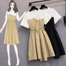 VK精品服飾 韓系T恤拼接休閒抽繩收腰氣質不對稱短袖洋裝