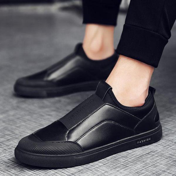 豆豆鞋 豆豆鞋男土無鞋帶全黑板鞋一腳蹬懶人軟底皮鞋開車休閒鞋 蘇荷精品女裝