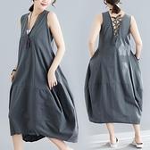 中大尺碼 無袖洋裝 胖mm洋氣時尚減齡韓版百搭純色無袖拼接背心連身裙女2021夏裝新款