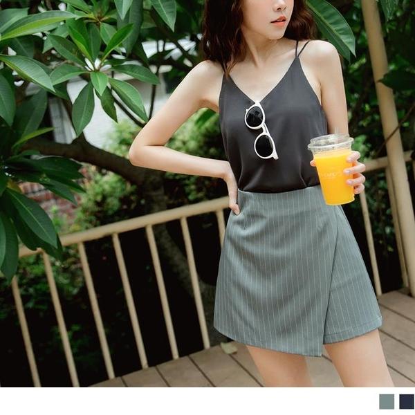 《BA5814-》簡約率性直條紋後拉鍊褲裙/短裙 OB嚴選