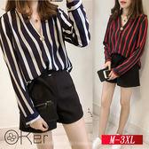寬鬆顯瘦大尺碼V領條紋襯衫 M-3XL O-Ker歐珂兒 159941-C