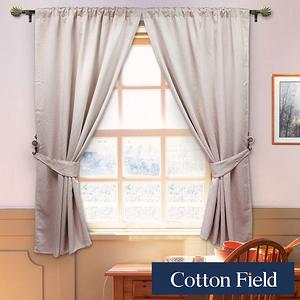 棉花田【梵蒂岡】素色壓花穿掛兩用遮光窗簾-2色可選(200x170cm米色