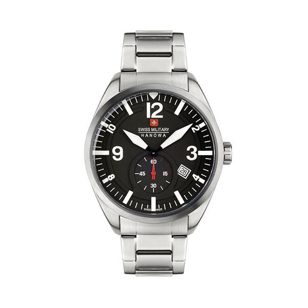 【SWISS MILITARY HANOWA】SCOPE瑞士錶紳士日期鋼帶錶-銀黑款SM14389JSN.H02MC台灣總代理公司貨兩年保固
