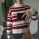 (全館一件免運費)DE SHOP~(RT-5871)韓版寬鬆條紋半高領長袖毛衣學院風顯瘦套頭針織衫上衣