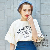 ❖ Summer ❖ 摺邊寬袖標語打印T恤 - E hyphen world gallery