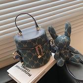手提水桶包 迷你小包包女夏小眾2021新款潮時尚帆布單肩斜挎包百搭手提水桶包