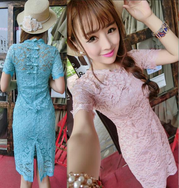 限時38折 韓國風名媛蕾絲純色改良旗袍顯瘦蝴蝶結短袖洋裝