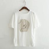 短袖T恤-圓領抽象人物印花休閒女上衣2色73sy30【巴黎精品】
