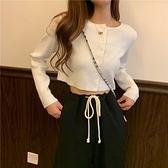 白色針織衫女長袖開衫外套夏季薄款修身外穿高腰短款露臍bm風上衣 【雙十二下殺】