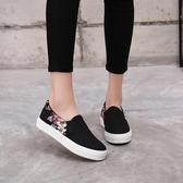 布鞋女一腳蹬懶人鞋平底黑色百搭帆布鞋女鞋子樂福鞋 初秋新品