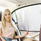 ✭米菈生活館✭【P535】銀色汽車磁性遮陽擋  磁鐵 側窗 車內 防曬 塗銀 隔熱雙層 伸縮 遮光板