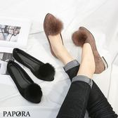 PAPORA經典金尖頭絨球低跟娃娃鞋KYK431黑卡其
