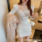 性感方領抹胸針織裙女裝2021年新款春秋季洋氣修身包臀打底洋裝 蘿莉新品
