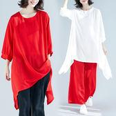 促銷2千免運大碼女裝短袖套裝8111時尚大碼套裝純色大碼顯瘦上衣褲子兩件套ZM3FC012朵維思