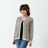 闕蘭絹【Royal Silk】雋永名精品厚磅蠶絲針織豹紋外套-7706