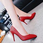 高跟鞋歐美10cm尖頭女細跟淺口性感黑色亞光軟面皮鞋工作鞋單鞋 全館免運