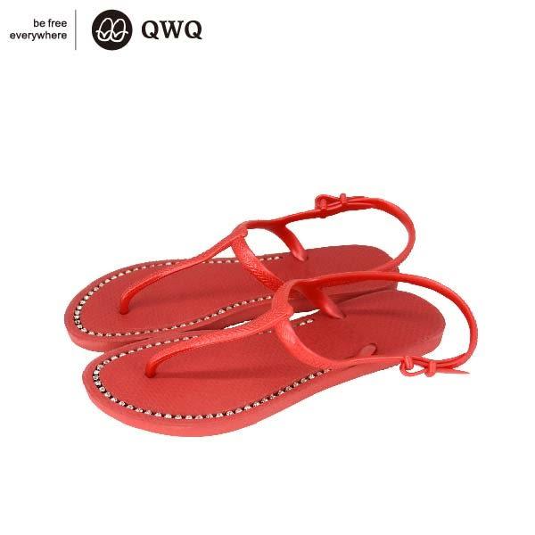 ★加419元購聖誕手繪陶瓷杯★QWQ創意鞋-搖滾紅 夾腳人字拖涼鞋(涼鞋系列)