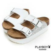 PLAYBOY 新潮概念 亮蔥拼接雙釦帶拖鞋-白