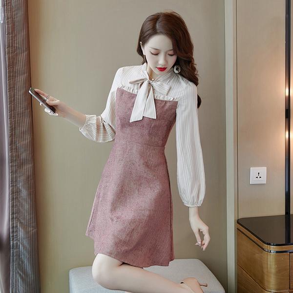 VK旗艦店 韓系時尚顯瘦蝴蝶結田園風復古長袖洋裝