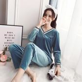 時尚金絲絨休閒套裝 女2019春秋新款V領家居服闊腿兩件套 BT254『寶貝兒童裝』