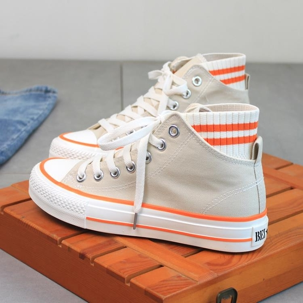 增高鞋 內增高帆布鞋女高幫韓版潮學生百搭休閒板鞋-Ballet朵朵