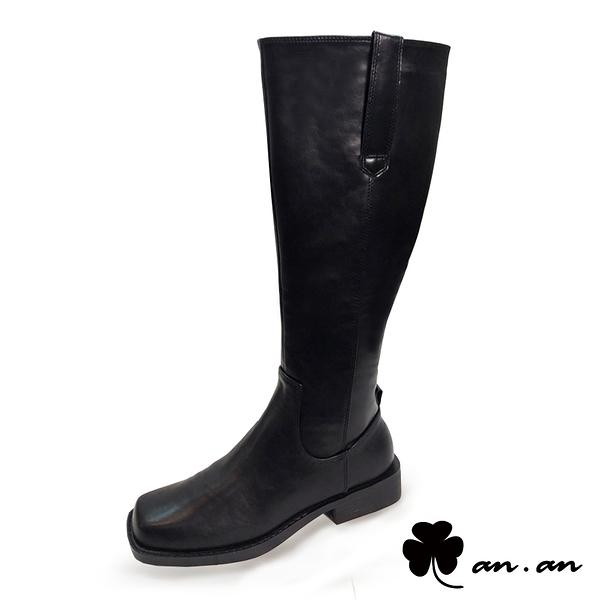 長靴 柔美軍風質感長筒靴(黑)* an.an【18-C183-2bk】【現貨】