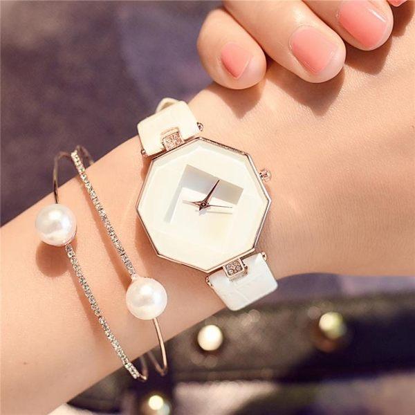 手錶女機械錶防水八角形皮質方形電子錶時尚正韓簡約小清新石英錶WY