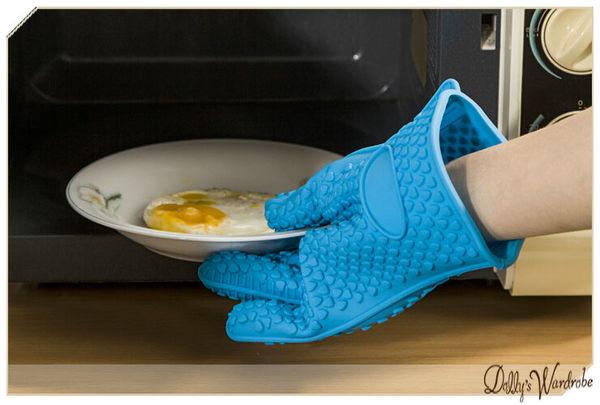 ☆Dolly生活館*╮廚房用品 糖果加厚耐高溫矽膠防燙隔熱五指手套/防燙手套/烘培手套 4色 20695