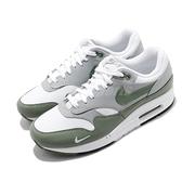 Nike 休閒鞋 Air Max 1 PRM 白 綠 灰 男鞋 高級皮革鞋面 復古慢跑鞋 運動鞋 【ACS】 DB5074-100