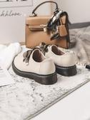 蝴蝶結平底小皮鞋女英倫風秋季厚底單鞋學院繫帶牛津女鞋學生聖誕交換禮物