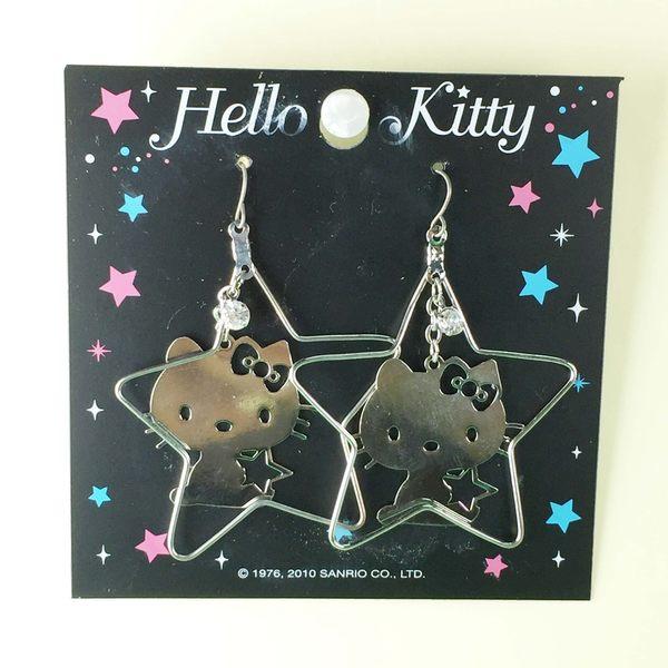 【震撼精品百貨】Hello Kitty 凱蒂貓~造型耳環-側坐星星造型