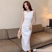 無袖洋裝 白色吊帶裙新款夏法式輕熟職業西裝無袖長裙女神范高定洋裝 檸檬衣舍