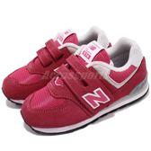 New Balance 慢跑鞋 574 NB 粉紅 紅 魔鬼氈 運動鞋 休閒鞋 童鞋 小童鞋【PUMP306】 IV574EPJW